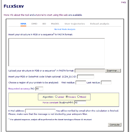Once we have the PDB file, we can open the FlexServ web tool and prepare the